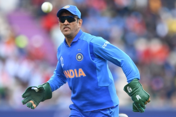 Dhoni fields during the 2019 Cricket World Cup group stage match between South Africa and India at the Rose Bowl in Southampton, southern England [File: Dibyangshu Sarkar/AFP]