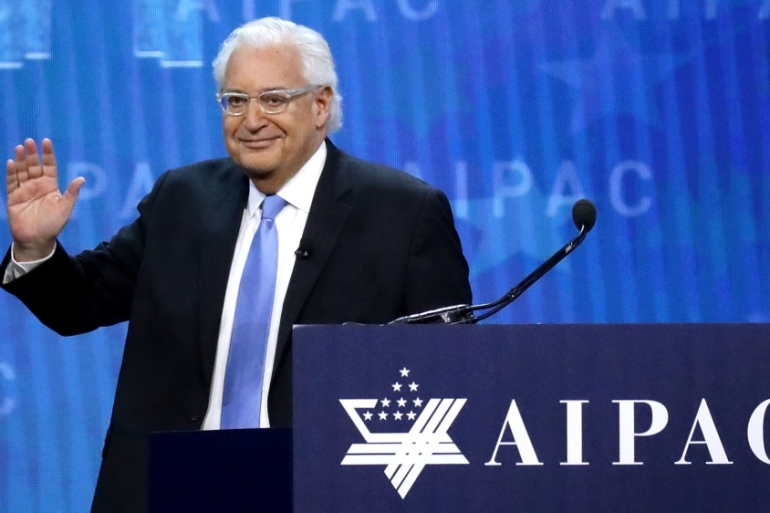 US ambassador to Israel David Friedman addresses AIPAC's conference in March 2018 in Washington [File: Chip Somodevilla/Getty Images/AFP]