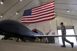 Global Hawk drones can fly across the Pacific Ocean without the need for refuelling [File: Hamad I Mohammed/Reuters]