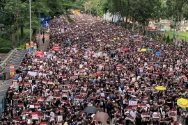 Crowds filled Hong Kong's Victoria Park early Sunday afternoon  [Euan McKirdy/Al Jazeera]