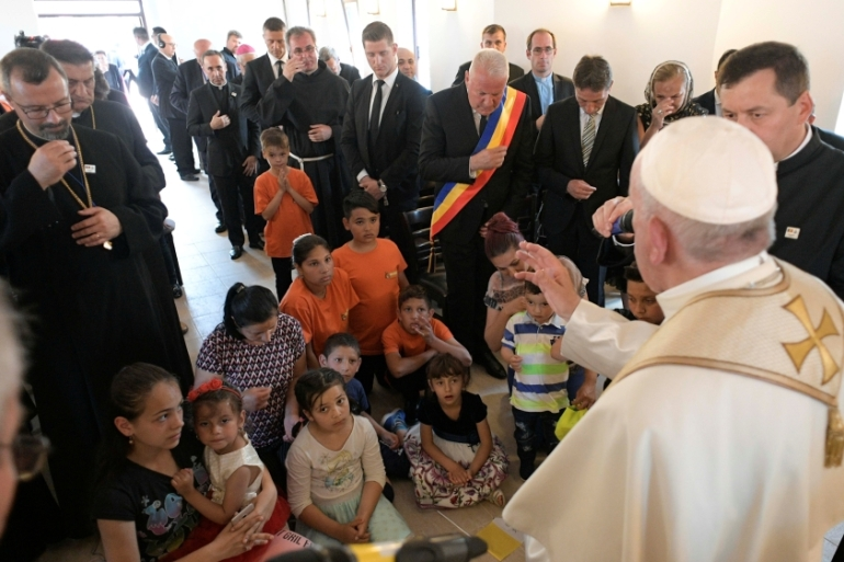 Pope Francis reached out to the minorities of Transylvania during his visit to Romania [Vatican Media via Reuters]