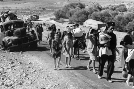 Palestinian refugees stream from Palestine on the road to Lebanon on November 4, 1948 [AP Photo/Jim Pringle]