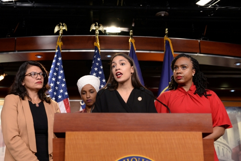 In a rare move, the Democratic-controlled House of Representatives on Tuesday condemned Trump for 'racist comments' against the four congresswomen [Erin Scott/Reuters]