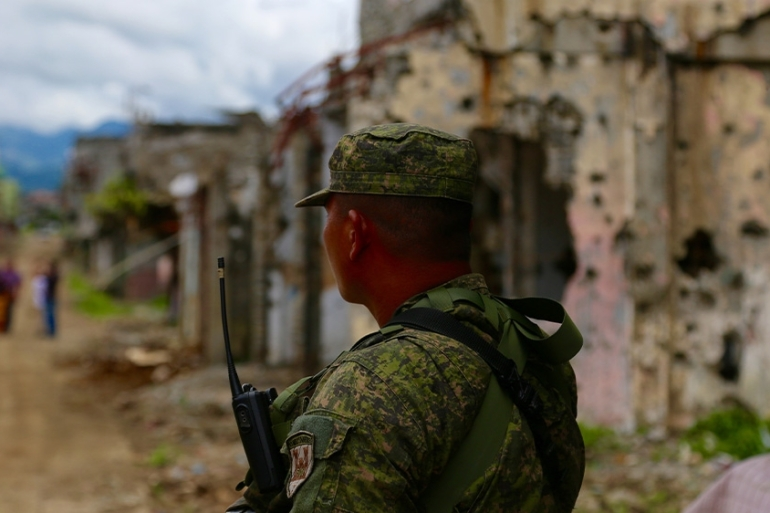 Local leaders said Duterte has prioritised building a new military base in Marawi instead of new homes for the residents who were forced to flee from the fighting [Ted Regencia/Al Jazeera]