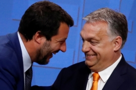 Italian Deputy Prime Minister Matteo Salvini smiles with Hungarian Prime Minister Viktor Orban during a joint news conference in Budapest, Hungary on May 2, 2019 [File: Bernadett Szabo/Reuters]