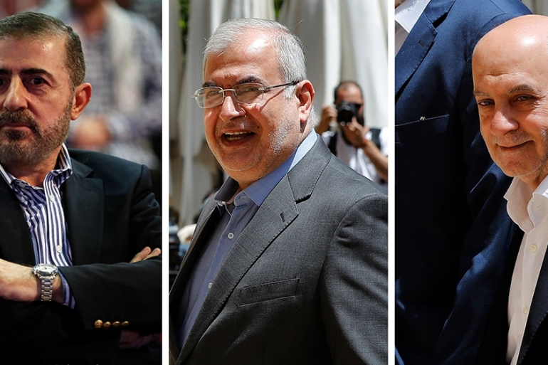 This combination of three photo shows, from left, Wafiq Safa, a top Hezbollah security official, and Lebanon Parliament members Muhammad Hasan Ra''d and Amin Sherri in Beirut [Files: Hussein Malla/AP Photo]