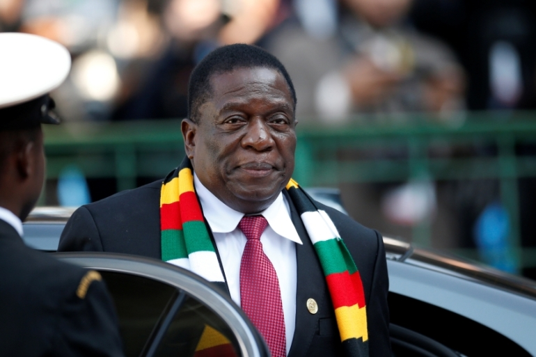Mnangagwa was given a mandate to rule Zimbabwe for the next five years in disputed polls last year [File: Siphiwe Sibeko/Reuters]
