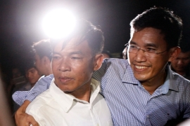 Two former reporters for Radio Free Asia - Uon Chhin, left, and Yeang Sothearin, right - have gone on trial for espionage [File: Heng Sinith/AP]