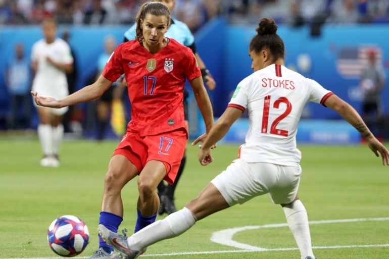 Tobin Heath of the US is challenged by Demi Stokes of England during the first semi-final of 2019 FIFA Women's World Cup [Robert Cianflone/Getty Images]
