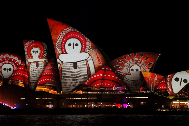 An indigenous Australian design projected onto the sails of the Sydney Opera House [FILE/Jason Reed/Reuters]