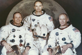 "The three crew members of NASA's Apollo 11 lunar landing mission - Commander Neil Armstrong, Command Module Pilot Michael Collins and Lunar Module Pilot Edwin ""Buzz"" Aldrin Jr -  pose for a group portrait before the launch. [File: Space Frontiers/Getty Images]"