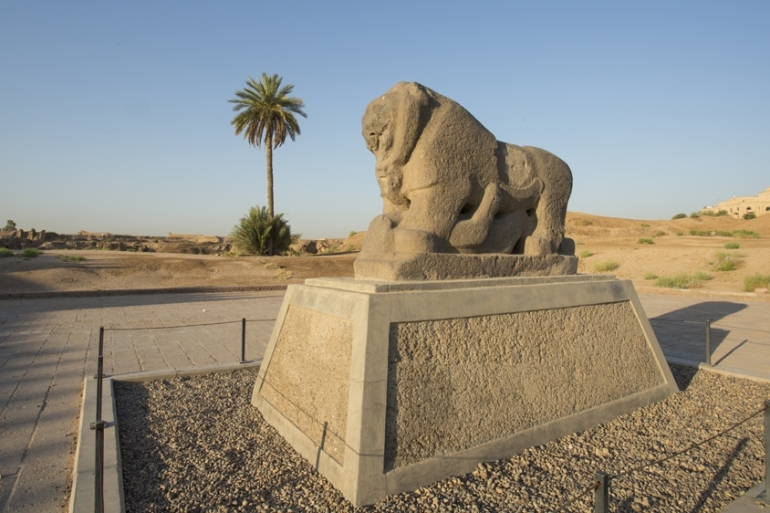 Babel's Lion at the ancient archaeological site of Babylon [File: Hussein Faleh/AFP]