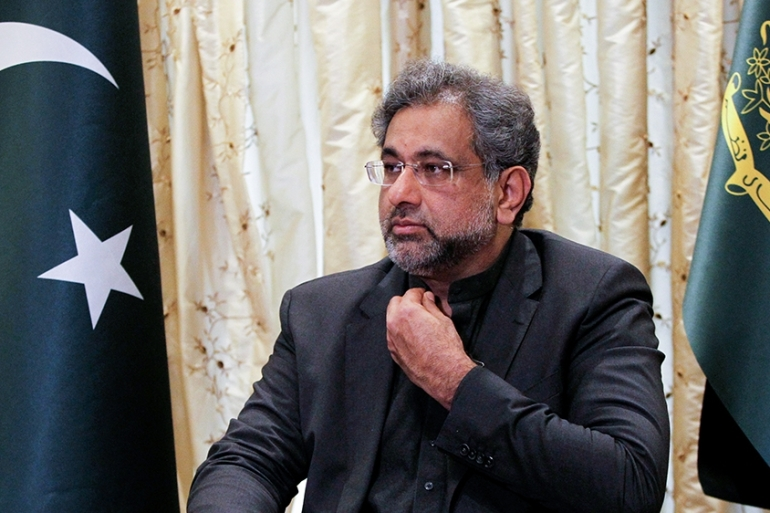Pakistani Prime Minister Shahid Khaqan Abbasi was arrested after his vehicle was stopped on entry to the eastern city of Lahore [File: Caren Firouz/Reuters]