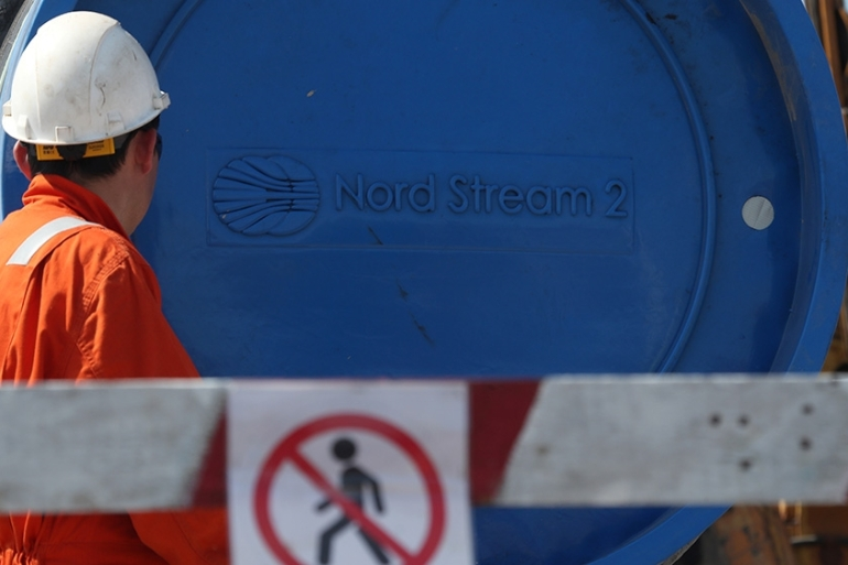 The Nord Stream 2 project, which has mostly been completed, is led by the Russian state-owned gas company Gazprom [Anton Vaganov/Reuters]