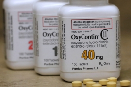 Bottles of prescription painkiller OxyContin pills, made by Purdue Pharma LP [File: George Frey/Reuters]
