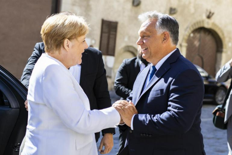 Angela Merkel and Viktor Orban met in the west Hungarian town of Sopron [Balazs Szecsodi/Hungarian PM office handout/EPA-EFE]