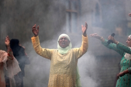 Women shout slogans during a protest following restrictions after the government scrapped the special constitutional status for Kashmir, in Srinagar August 14, 2019. REUTERS/Danish Ismail [Daylife]