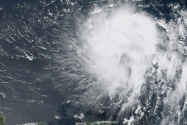 This satellite image obtained from NOAA/RAMMB, shows Tropical Storm Dorian as it approaches on August 27, 2019 [Handout/NOAA/RAMMB/AFP]