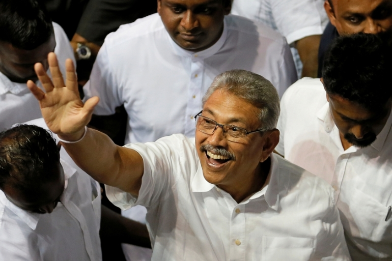 Gotabaya Rajapaksa was nominated as a presidential candidate during the Sri Lanka People's Front party convention in Colombo [Dinuka Liyanawatte/Reuters]