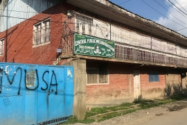 A school in Kashmir's Tral area with Musa - a rebel killed by security forces - written on its entrance [Sonia Sarkar/Al Jazeera]