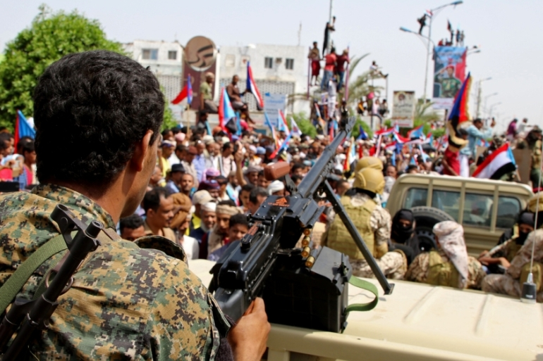 Members of southern separatist forces march during a rally in Aden with their supporters [File: Fawaz Salman/Reuters]