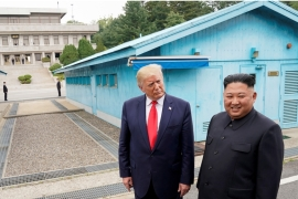 The two leaders last met at the DMZ in June this year, their first meeting since talks collapsed in Vietnam in February [Kevin Lamarque/Reuters]