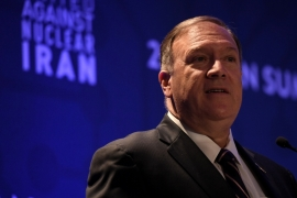 Speaking at an annual meeting of anti-Tehran hawks, Pompeo says the US will target Chinese firms [Darren Ornitz/Reuters]