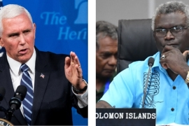 The meeting between Pence and Sogavare was to have taken place on the sidelines of the UN General Assembly meeting in New York, or afterwards in Washington, DC [File: Jim Lo Scalzo/Mick Tsikas/EPA]