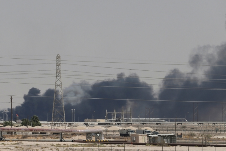 Smoke seen following a fire at an Aramco facility in the Saudi city of Abqaiq on September 14 [File: Reuters]