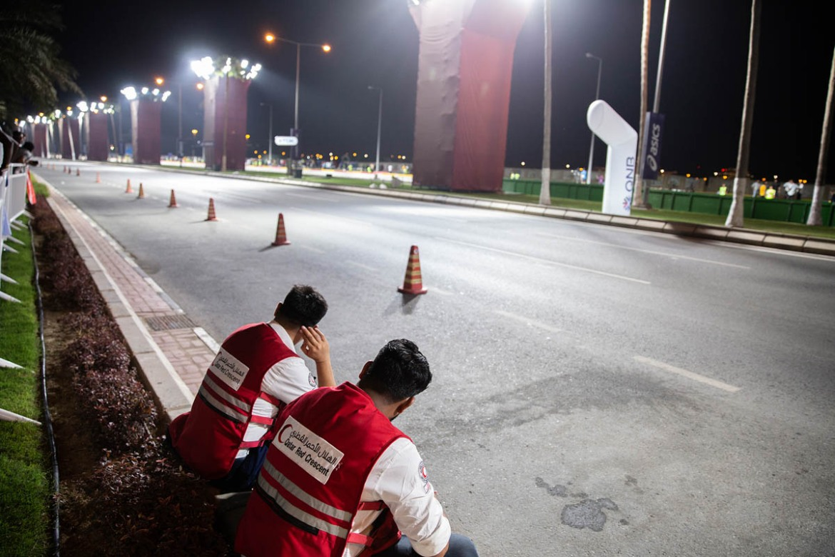 Seventy Qatar Red Crescent staff were on duty for the marathon, stationed to look after the runners and the crowd. Two mobile clinics and a first-aid point every 100 metres (328 feet) were set up due to the conditions. [Faras Ghani/Al Jazeera]