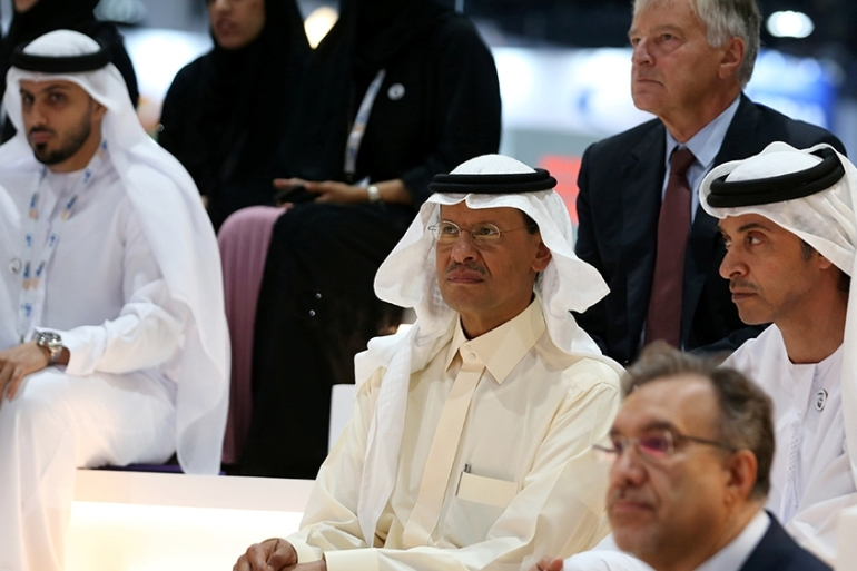 Saudi Arabia's new energy minister, Prince Abdulaziz bin Salman (middle) said Monday that the kingdom is proceeding with uranium enrichment 'cautiously' and 'experimenting with two reactors' [Satish Kumar [Reuters]