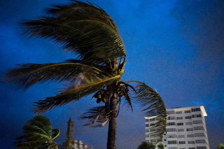Strong winds move the palms of the palm trees at the first moment of the arrival of Hurricane Dorian in Freeport, Grand Bahama, Bahamas, [Ramon Espinosa/AP Photo]