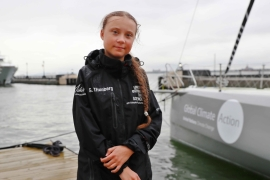 Swedish teen activist Greta Thunberg completed her trans-Atlantic crossing in order to attend a United Nations summit on climate change in New York on August 28 [Reuters/Andrew Kelly]
