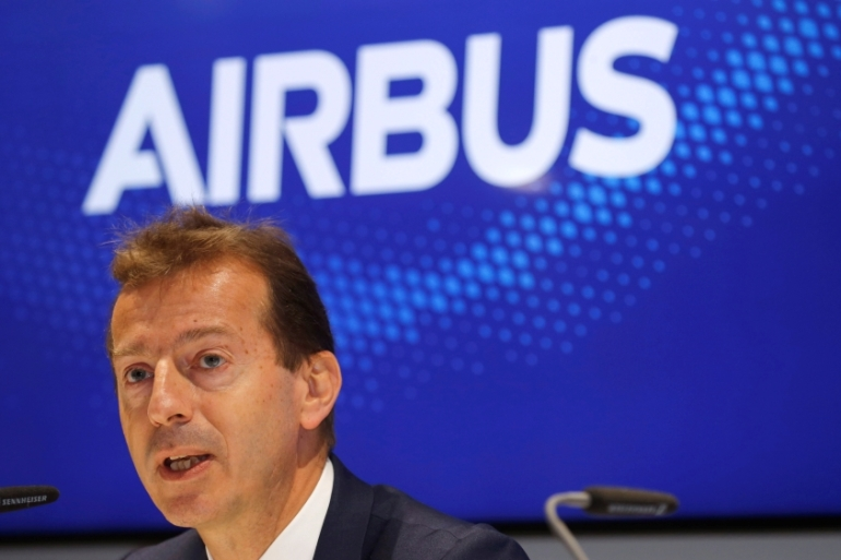 Guillaume Faury highlighted that Airbus also buys and sells in the US, where it operates a final assembly line for its narrow-body planes [File: Pascal Rossignol/Reuters]