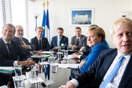 Johnson, Merkel and Macron held a trilateral meeting at the UN Headquarters [EPA]