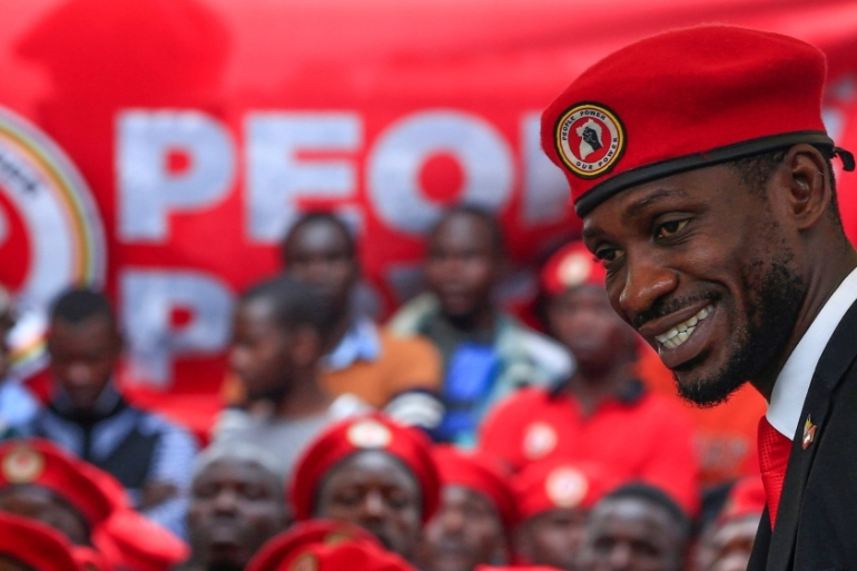 Bobi Wine has called his signature red beret a 'symbol of resistance' [File: James Akena/Reuters]