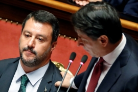 Italian Deputy PM Matteo Salvini reacts as Italian Prime Minister Giuseppe Conte addresses the upper house of parliament over the ongoing government crisis on August 20, 2019 [Reuters/Yara Nardi]