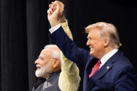 Trump and  Modi attend 'Howdy, Modi!' at NRG Stadium in Houston, Texas [Saul Loeb/AFP]