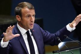 French President Emmanuel Macron spoke at the UN General Assembly on Tuesday [Carlo Allegri/Reuters]