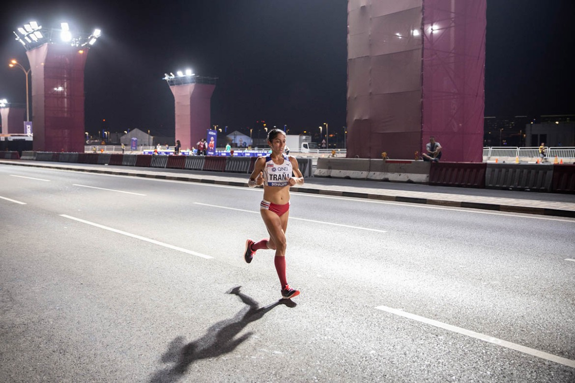 The runners had to do six loops of 7km (4.35 miles) each on Doha's Corniche where special floodlights were set up to enable adequate lighting. [Faras Ghani/Al Jazeera]