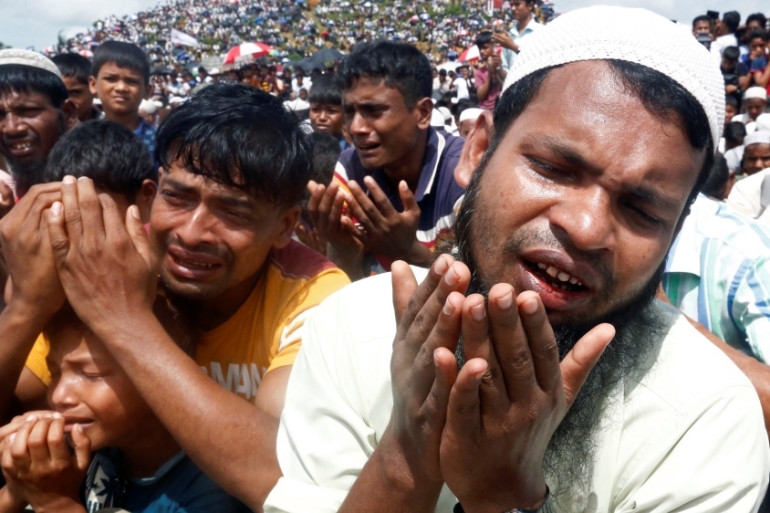 Thousands of Rohingya have been killed and more than 740,000 have taken shelter in neighbouring Bangladesh since August 2017 [Rafiqur Rahman/Reuters]