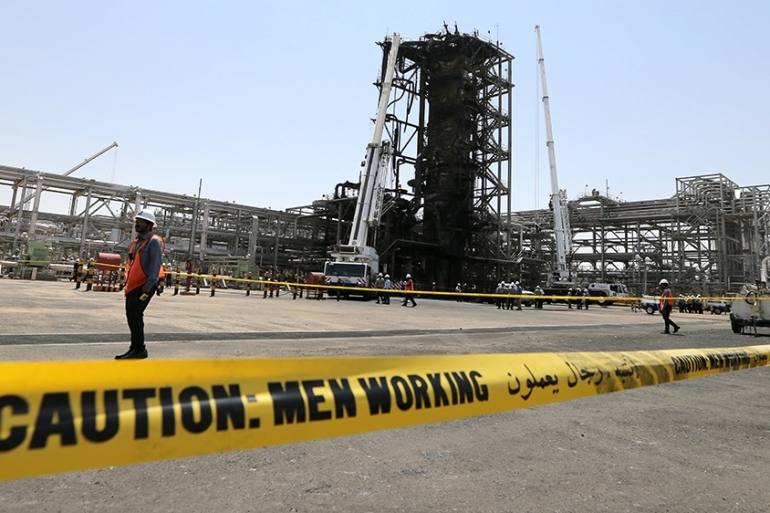 On Friday, Saudi officials took reporters to inspect the Saudi Aramco facilities damaged in last weekend's attacks [Reuters]