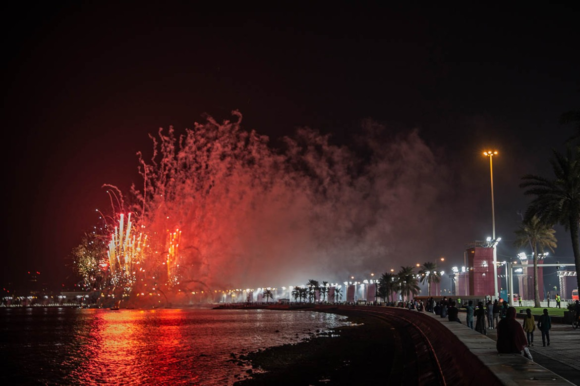 The event's opening ceremony took place on Doha's Corniche at 11pm local time (20:00 GMT) with a dazzling display of fireworks. [Faras Ghani/Al Jazeera]