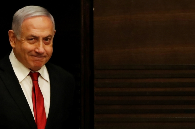 Israeli Prime Minister Netanyahu arrives to deliver a statement during a news conference in Jerusalem September 18, 2019 [Ronen Zvulun/Reuters]