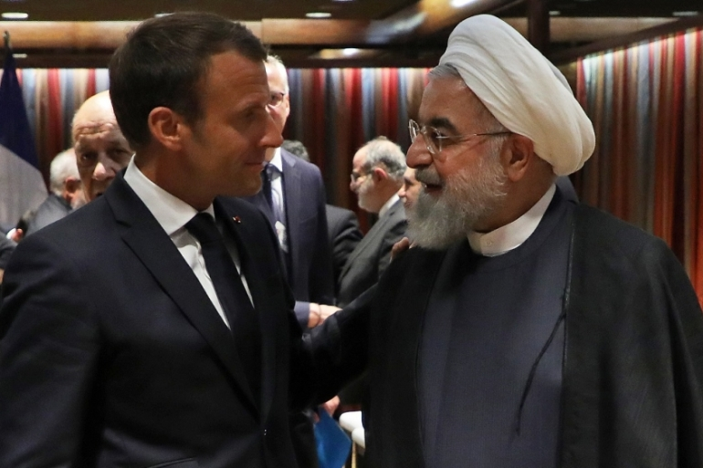 France's Macron met Rouhani twice in the last two days to press for an historic meeting with the US president [Ludovic Marin/AFP]