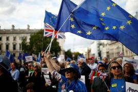 Anti-Brexit protesters will be celebrating on Wednesday after the vote [Henry Nicholls/Reuters]