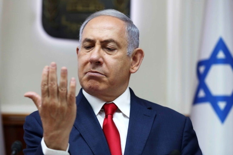 Israeli Prime Minister Benjamin Netanyahu gestures during the weekly cabinet meeting at his office in Jerusalem on July 7, 2019 [Abir Sultan/Reuters]