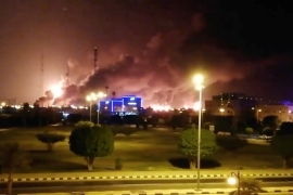 Smoke billows following an attack at an Aramco factory in Abqaiq, Saudi Arabia on Saturday [Reuters]