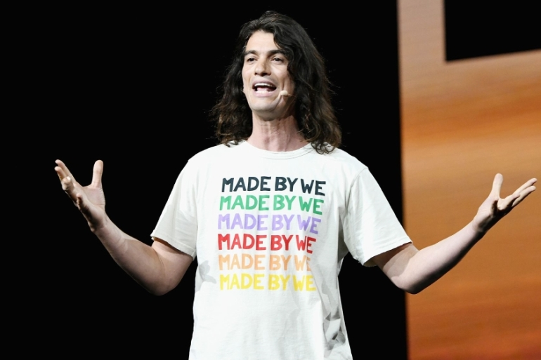 WeWork cofounder Adam Neumann is resigning as chief executive and giving up majority voting control after shareholders turned on him over a plunge in the US office-sharing startup's estimated valuation [File: Michael Kovac/Getty Images]