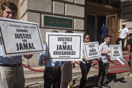 Protesters rally outside MBS-sponsored event in New York City [James Reinl/Al Jazeera]